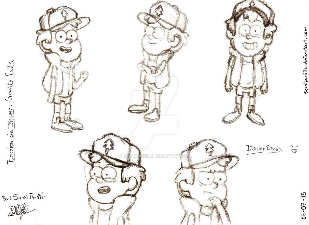 Bocetos de Dipper (Peticion) by saraiportillo
