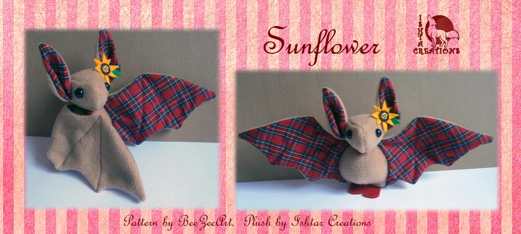 Sunflower Tartan Bat Plush