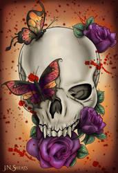 Gothic Skull with Blood Splatter
