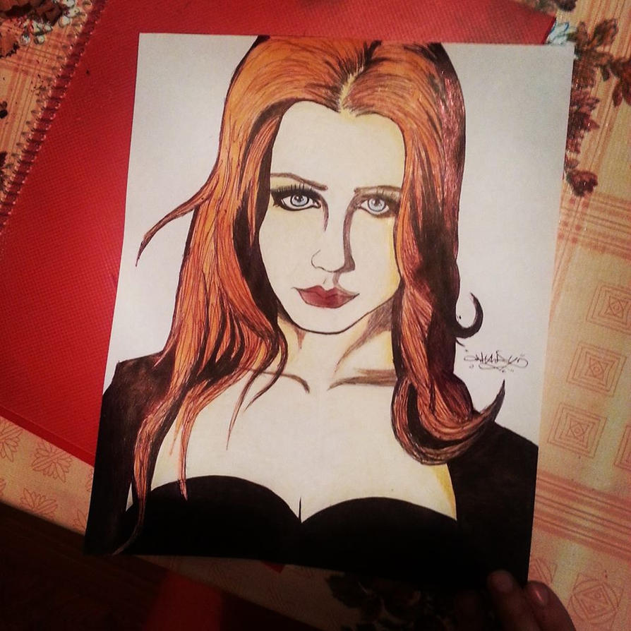 Simone Simons en birome negra y 3 lapices a color by MaryShinoda11