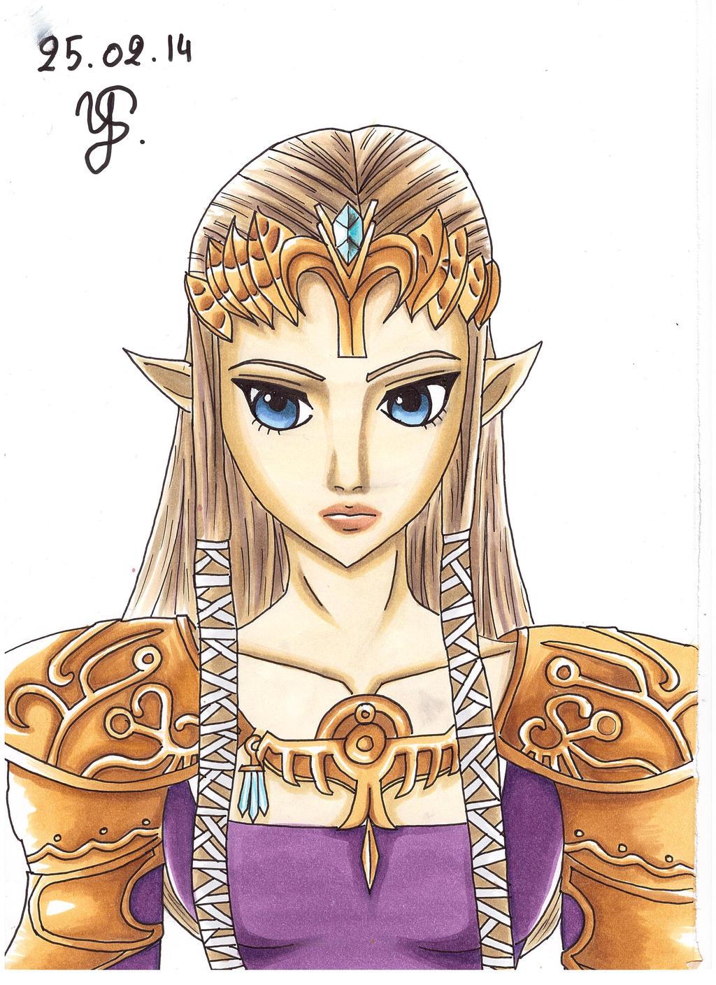 Princess Zelda Portrait - Colored version by YuukoScarlet