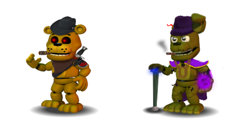 Golden Freddy and Springtrap FNoD (FnafW Edit) by Bonnie-From-Fnafb