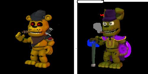 Golden Freddy and Springtrap FNoD (FnafW Edit) by Bonnie-From-Fnafb