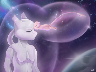 Mewtwo and Mew Galaxy  by wootmise