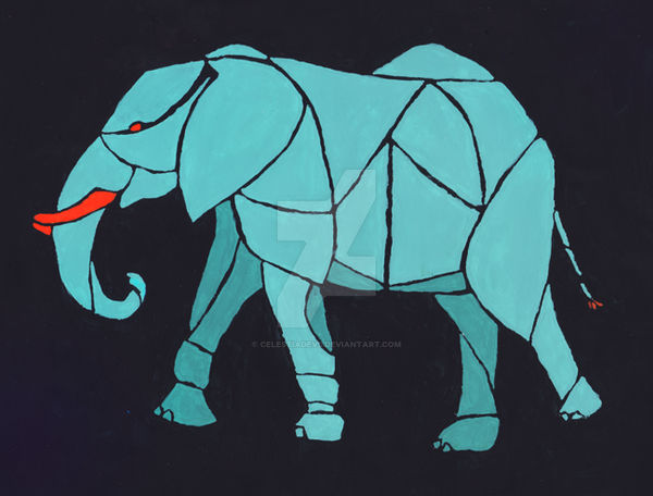 Turqoise and Orange Elephant