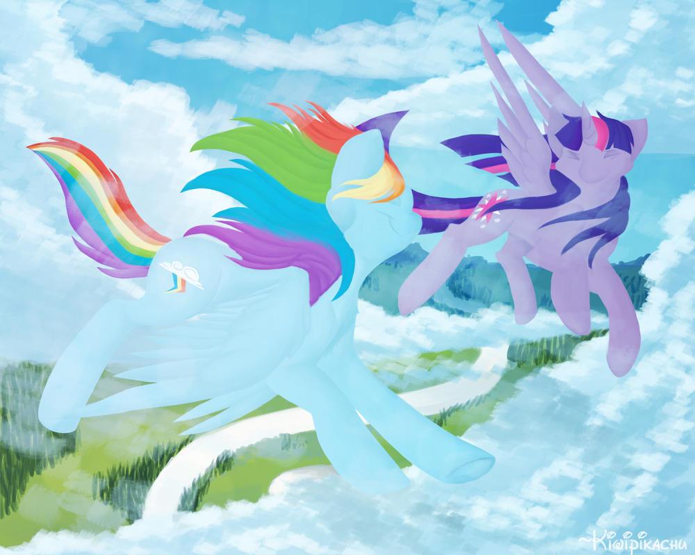Flying Buddies by KiwiPikachu
