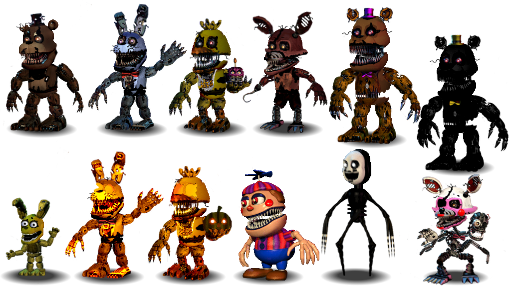 how to draw all fnaf 4 characters