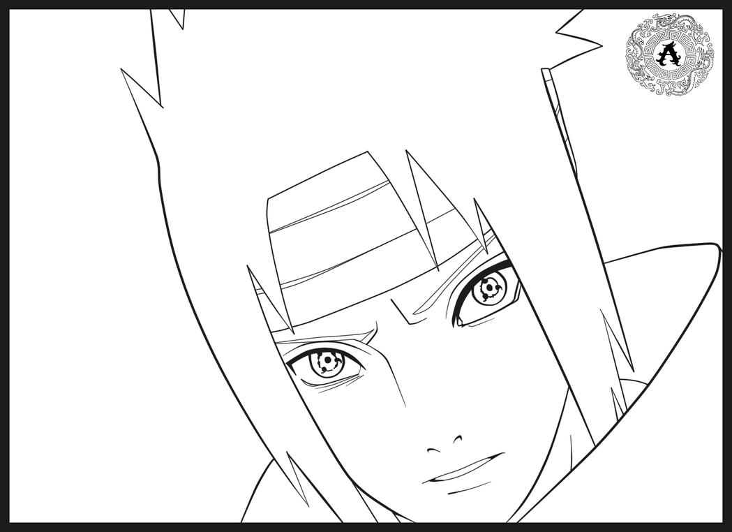 Sasuke Lineart : Sasuke lineart by arwiken on deviantart