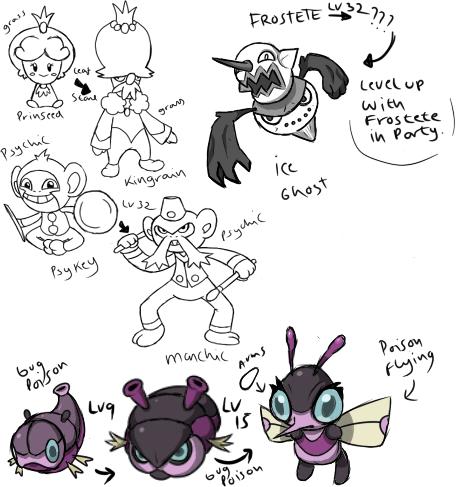 New Fakemon sketches by Pokedro