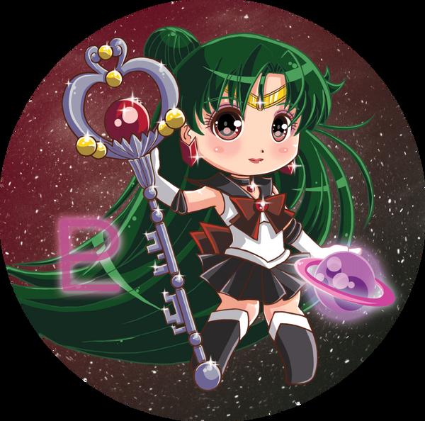 Sailormoon buttons Set 2: Sailor Pluto by Hadibou