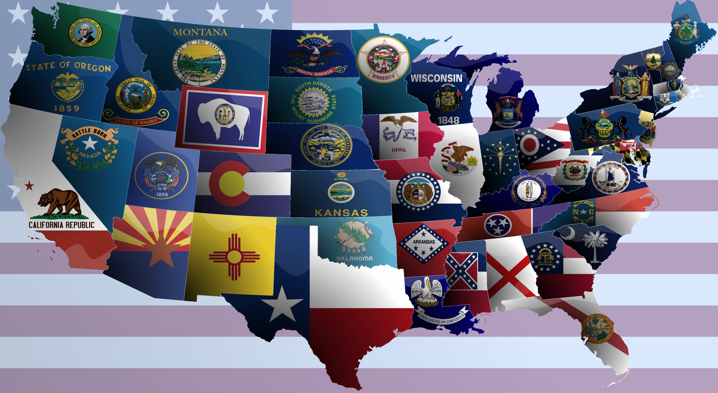 United States Flag Map Wallpaper Wallpapers Collection - Us state flag map