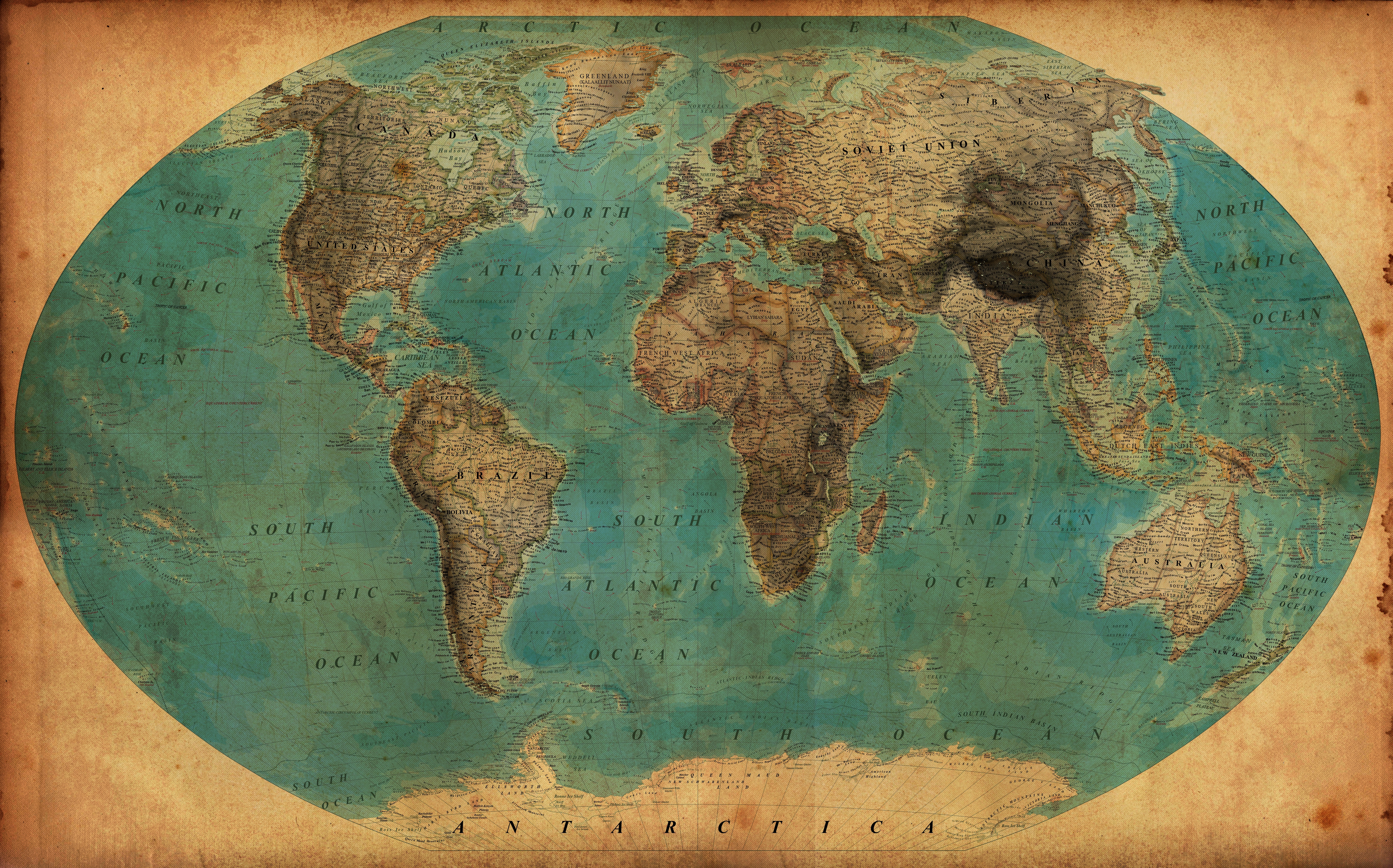 Old World Map Vintage Map Of The World 30 X 465 Print On