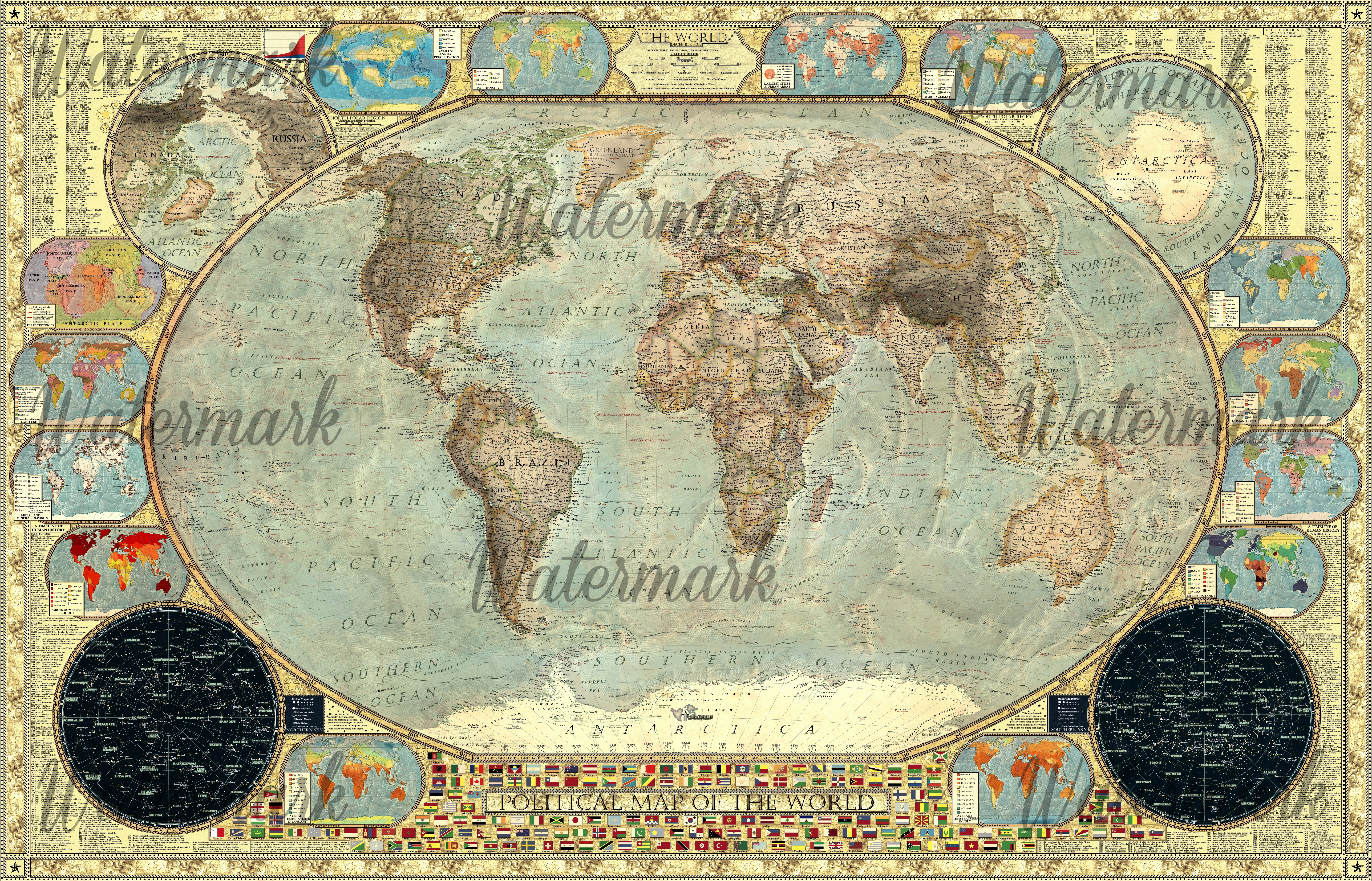 Political Map of the World - Imperial Decorative