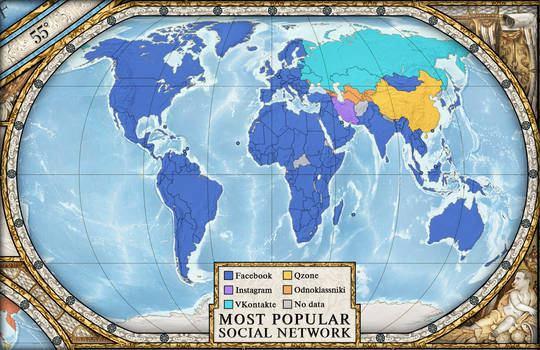 Most popular social network by country
