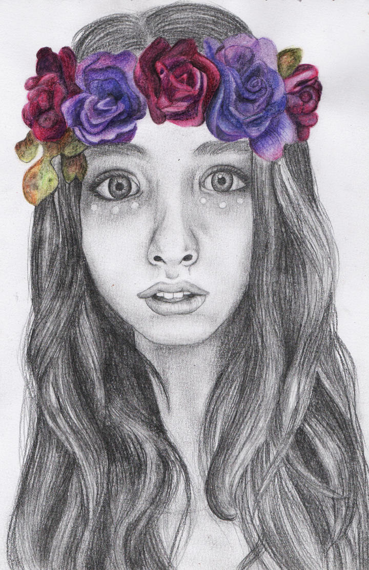 Girl with flower crown drawing - photo#10