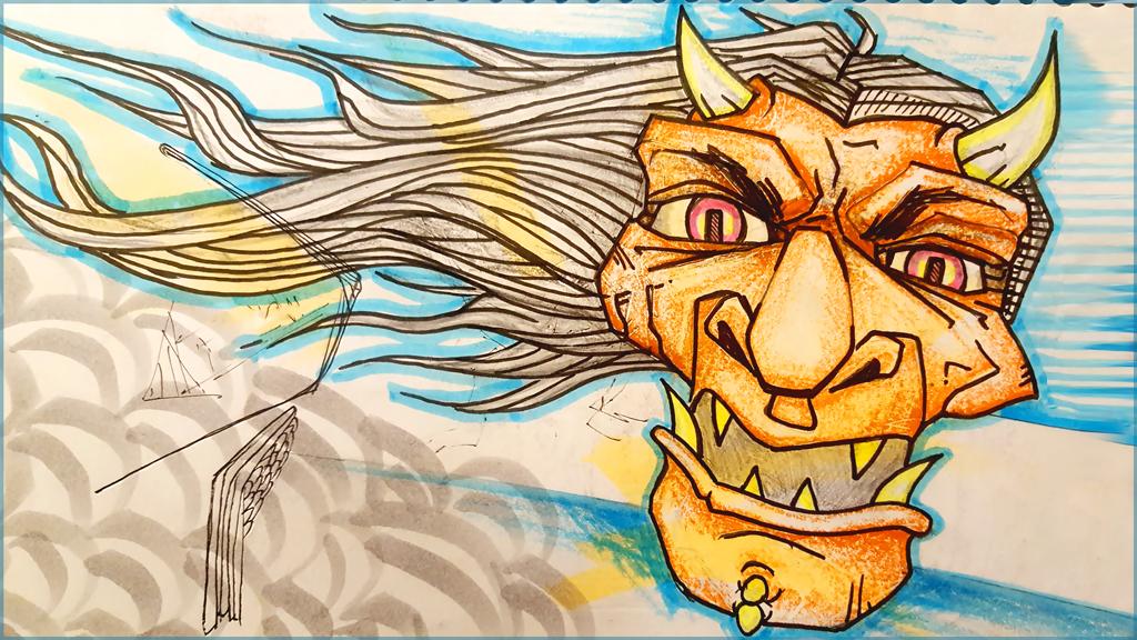 Wind Hannya Sketch by shintani