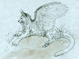 Winged Feline on Blue by vantid