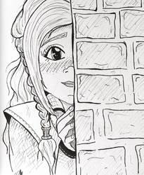 Inktober Day 7: Shy  by TanoshiiGirl