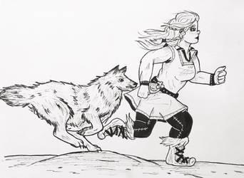 Inktober Day 11: Run  by TanoshiiGirl
