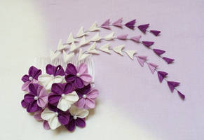 Charming Violet and White Blossom Kanzashi 151