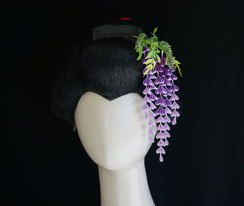 Cascading Purple Wisteria Japanese Hair Ornament By