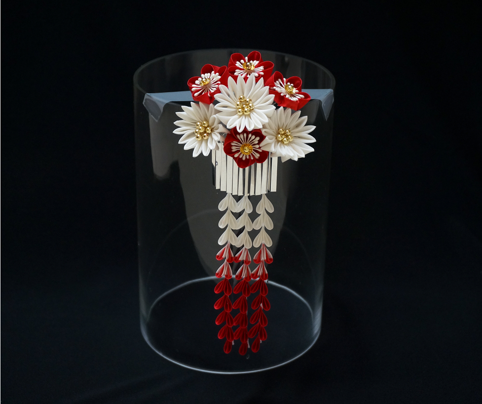 Elegant Red And White Blossoms With Bira Kanzashi By