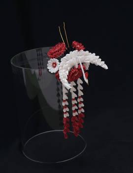 Crane and Red Chrysanthemum Tsumami Kanzashi 396