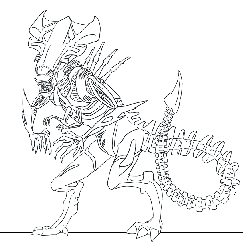 Xenomorph coloring pages pictures to pin on pinterest for Xenomorph coloring pages