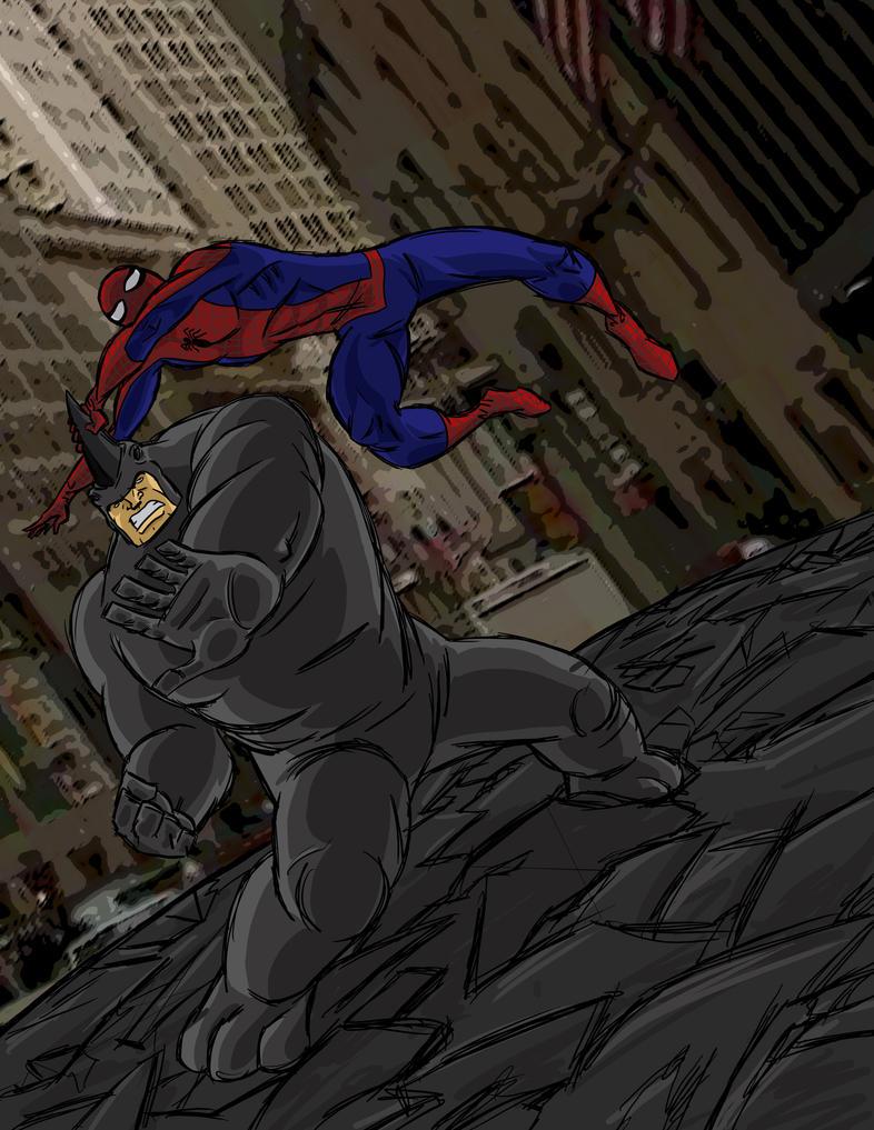 Spiderman vs rhino