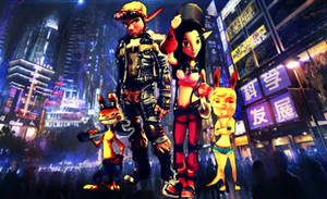 Jak, Keira, Daxter, and Tess Neon City Crowd