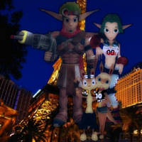 Jak, Keira, Daxter, and Tess Hanging Out in Vegas