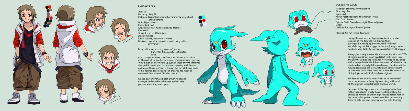 Digimon tamers: mirai character 1 - Ryuzaki Riza by Riza23