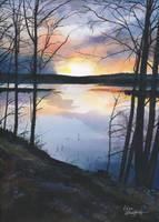Sunset lake by Flingling