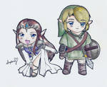 Link and Zelda Chibi