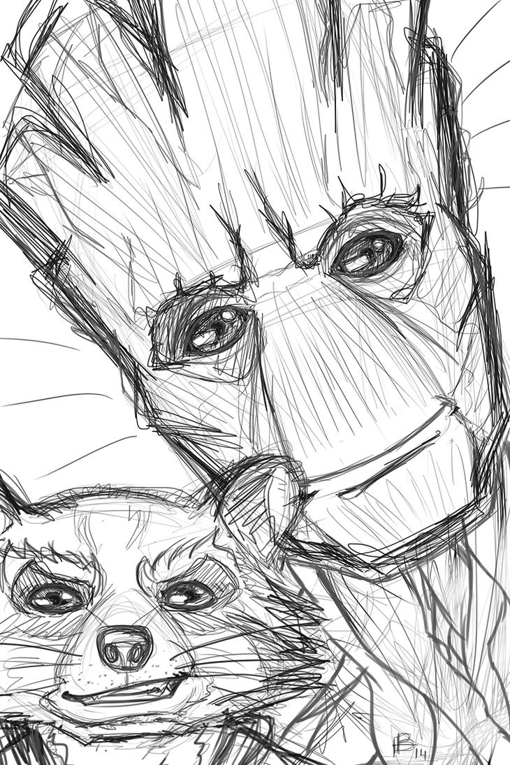 Groot and Rocket by Karenscarlet