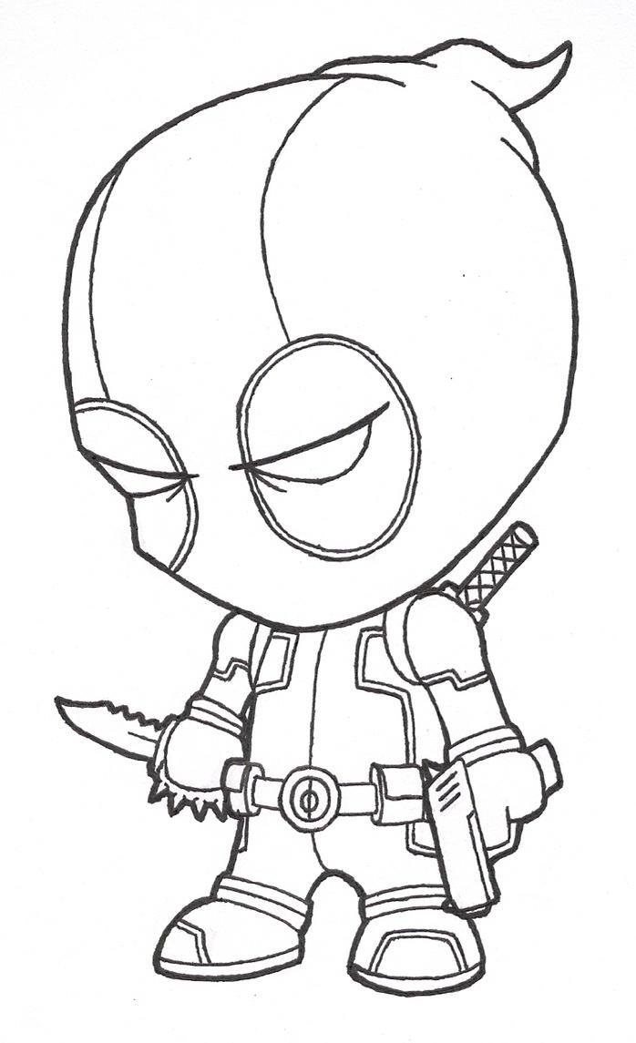 Little Deadpool (lines) by josh308 on DeviantArt
