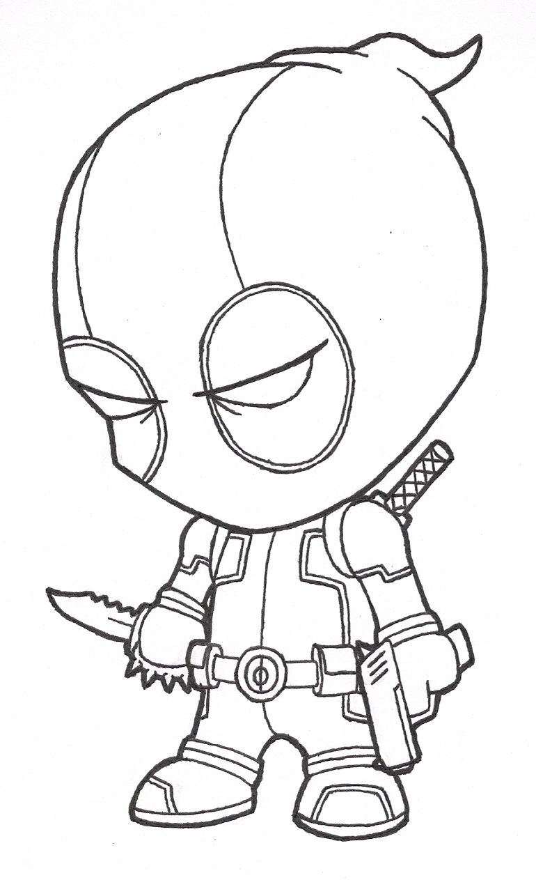 Line Drawing Characters : Little deadpool lines by josh on deviantart