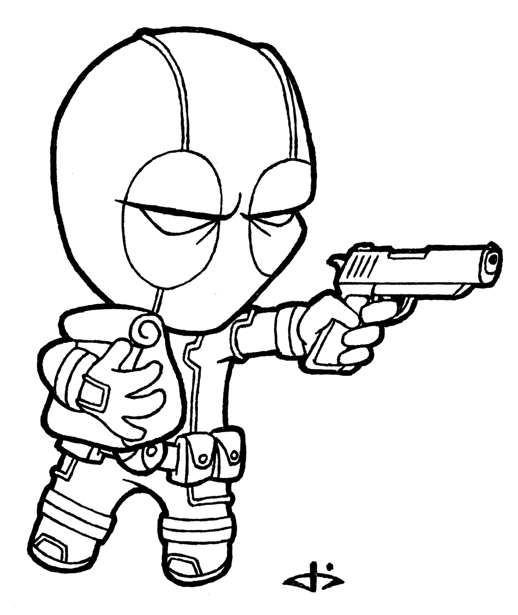 Cool Deadpool Coloring Pages Sketch Coloring Page