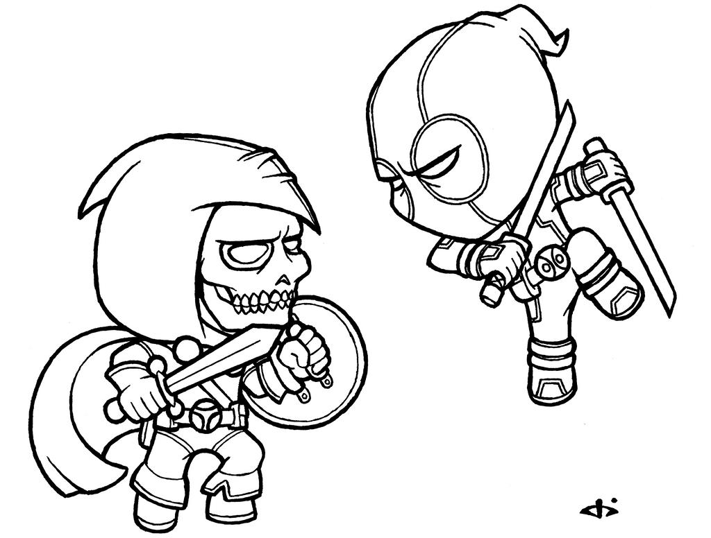 Little Deadpool vs Little Taskmaster - lines by josh308