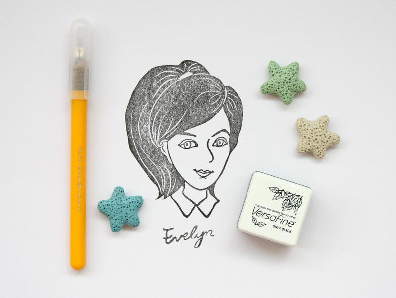 self-portrait rubber stamp by EvelynY