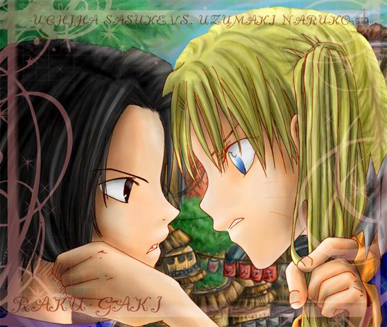sasuke vs naruko... by RAKUGAKI-