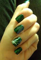 Pretty Green Silver and White Nails