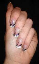 Acrylic White Tips with Purple Design