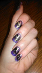 Purple-Gold Nails
