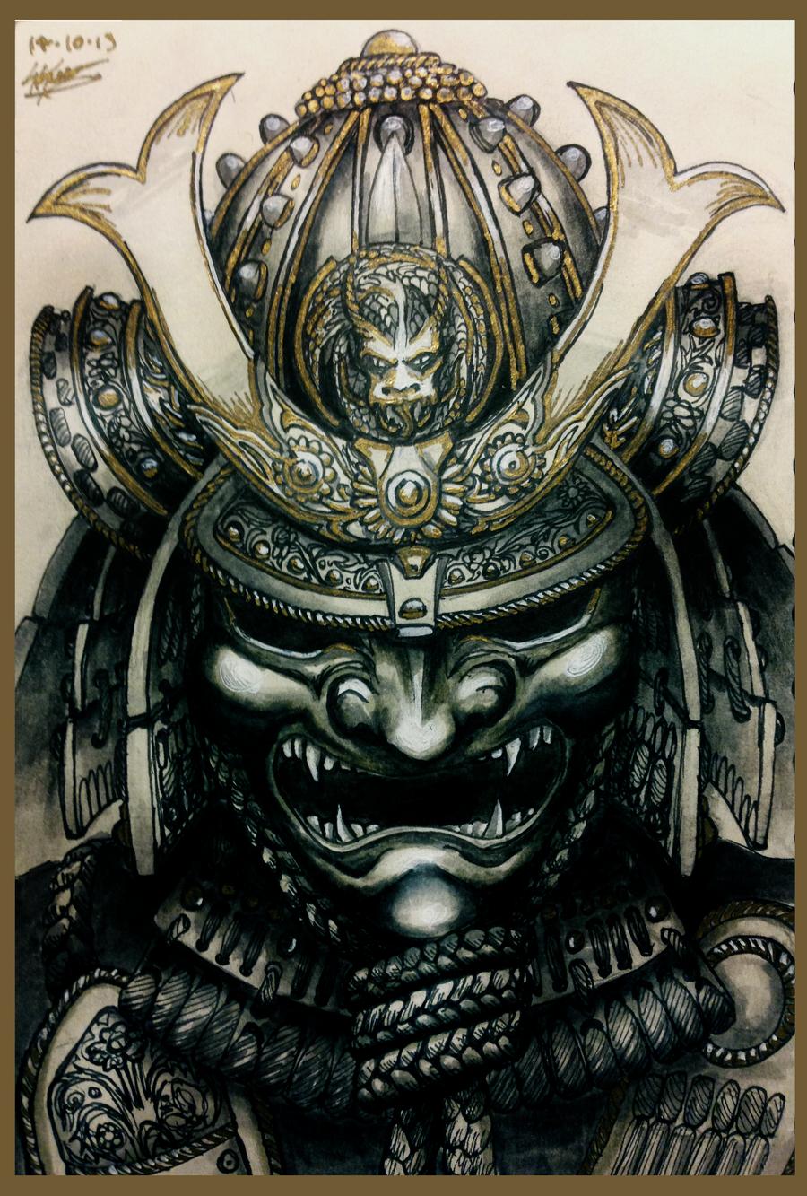 demon samurai mask drawing