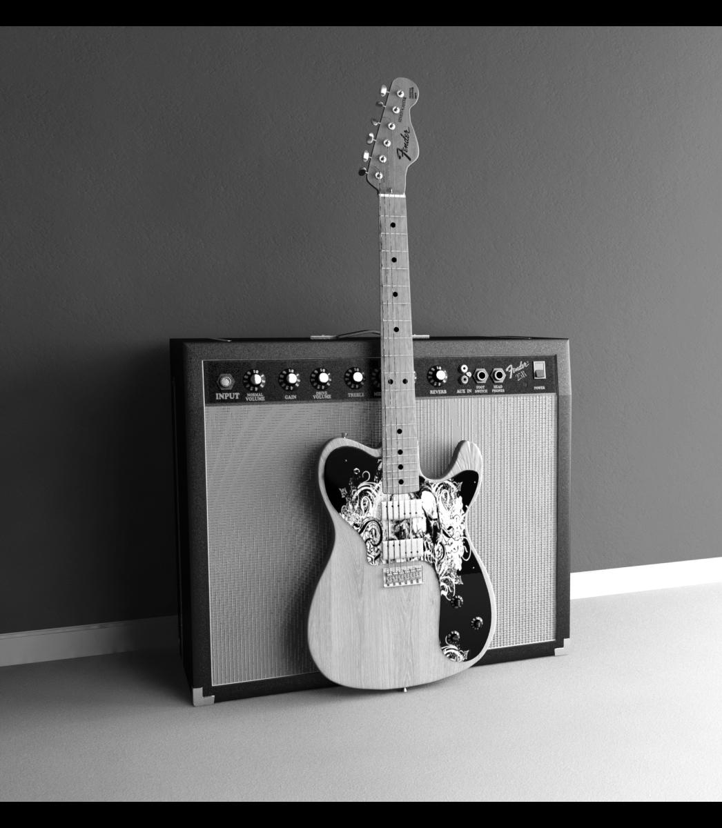 ... dimensional art objects music related 2009 2015 djreko black and white: djreko.deviantart.com/art/Fender-Guitar-AMP-BandW-113548248