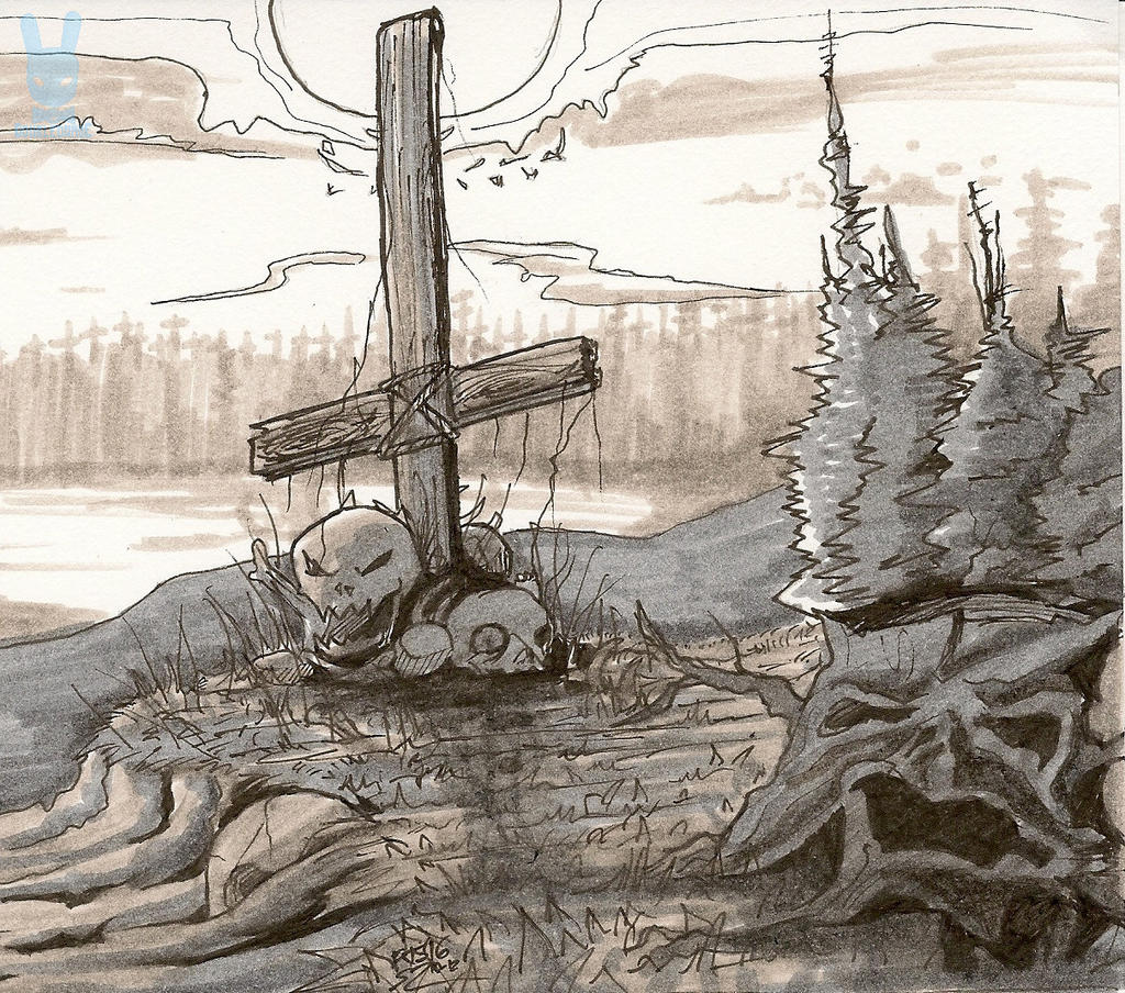Inktober 2016, Day12: The Unholy Cross by DoubleDandE