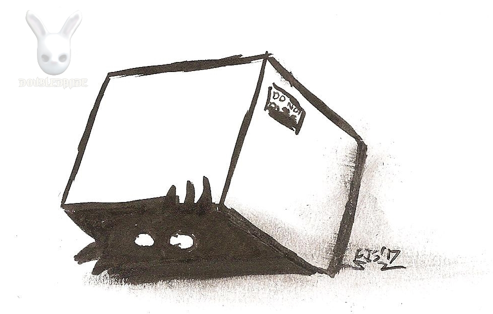 Inktober Day 7: Hiding in a box by DoubleDandE
