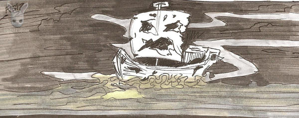Inktober Day 25: Tiny Ghost SHip by DoubleDandE