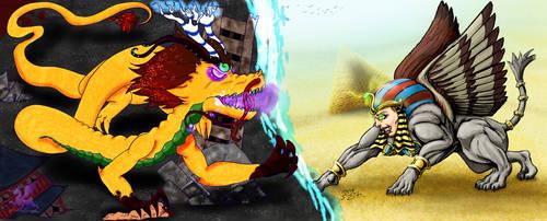 Sphynx n Dragon by DoubleDandE